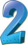 Colourful 3D shaped number 2 used for a numbered list