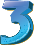 Colourful 3D shaped number 3 used for a numbered list