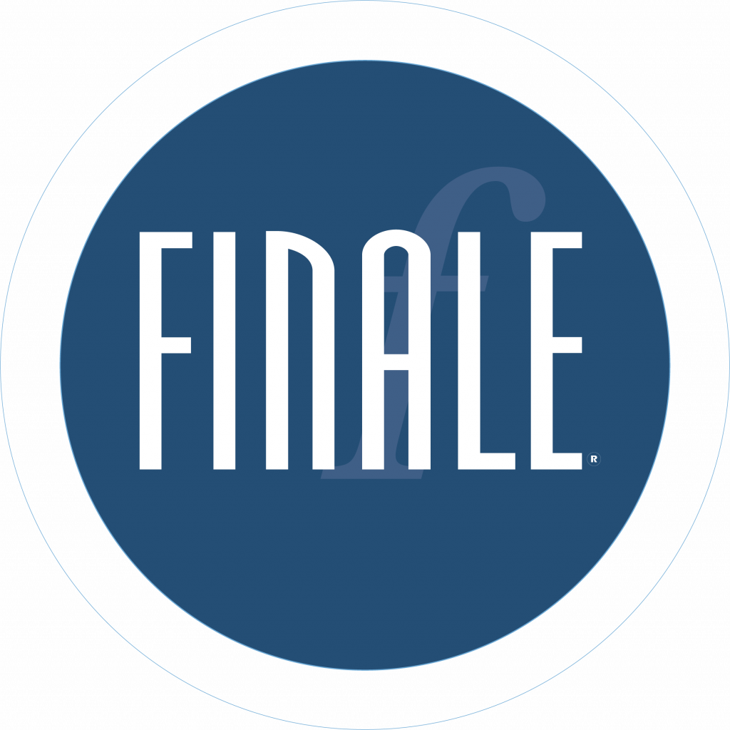 Finale logo from MakeMusic company. Dark steel blue circle containing the name FINALE. Links provided for Music Tutorials