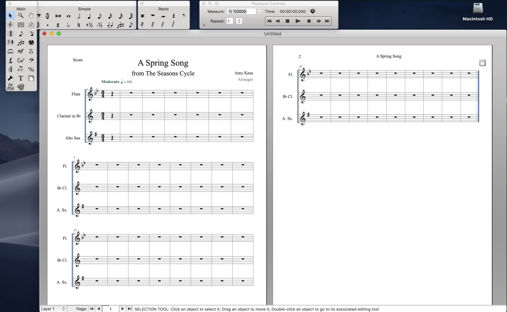 A finished Finale document created using the Finale Setup Wizard. A three stave score with playback menu, tool bar, and simple note entry shown.