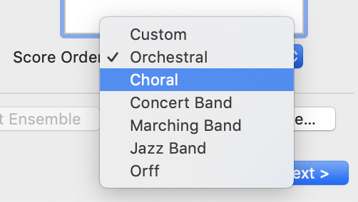 Reorder menu within Finale Setup Wizard will automatically recorder your instrument choices according to the pop down menu ensemble type menu