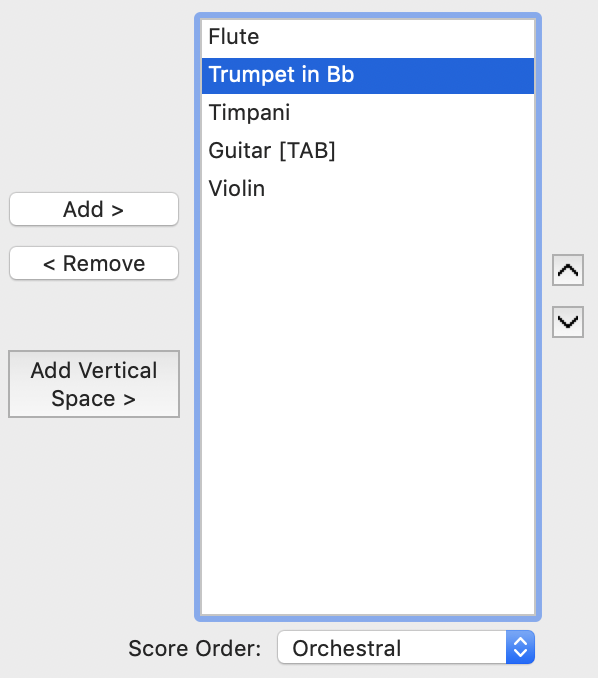 Reorder menu within Finale Setup Wizard with add and remove buttons as well as up and down arrows for changing instrument order in the score.