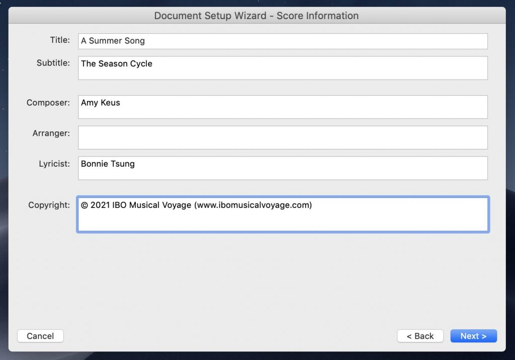Score Information menu within Finale Setup Wizard asks for title, subtitle, and names of composer, arrangement and lyricist