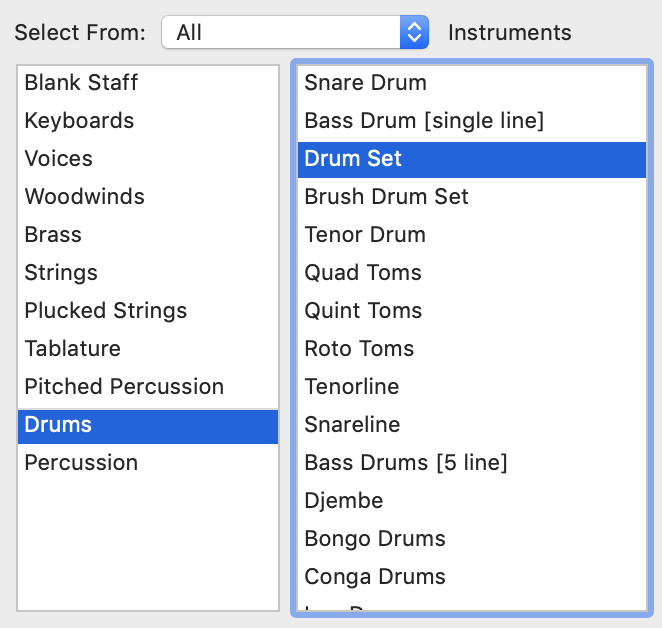 Selecting Instruments menu within Finale Setup Wizard instrument families to the left and available instruments to the right.