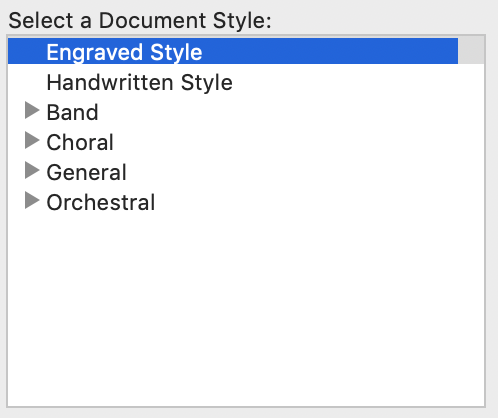 Select a Document style menu within Finale Setup Wizard with two possible font choices, including engraved or handwritten font styles