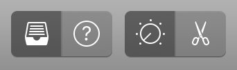 GarageBand - Four buttons show the types of menus that can open to show further options (library, information, editor, etc.)