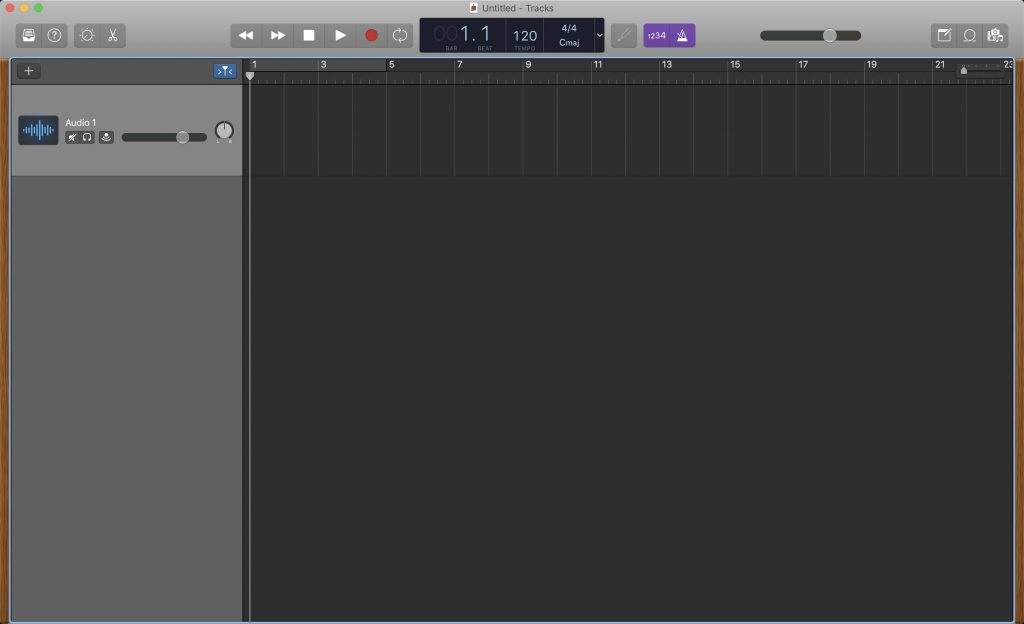 GarageBand - View of an initial empty track that has its library and editors hidden