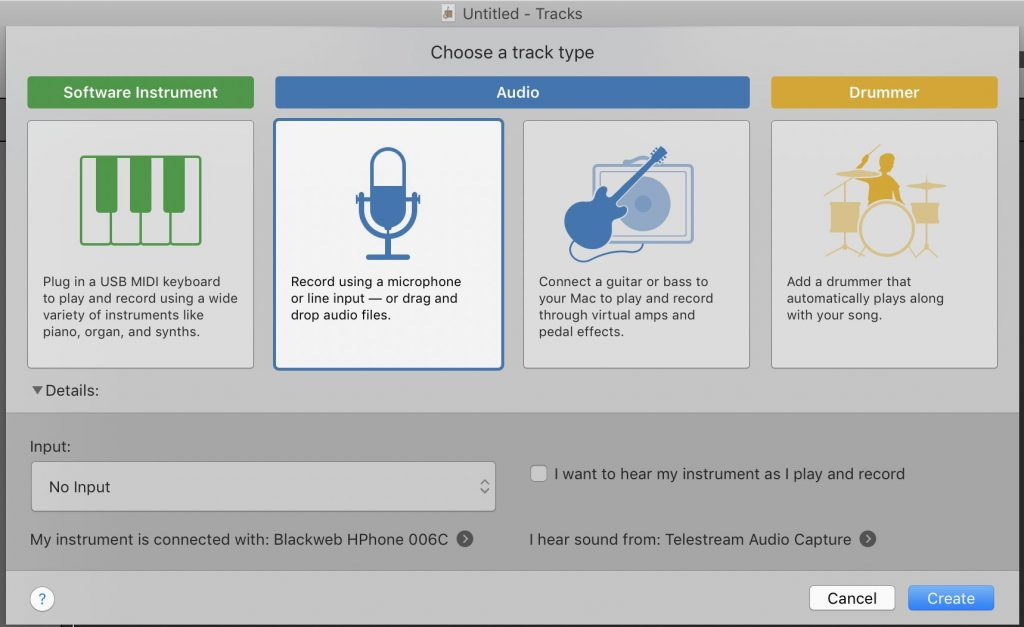 GarageBand opening project screen showing possible track types