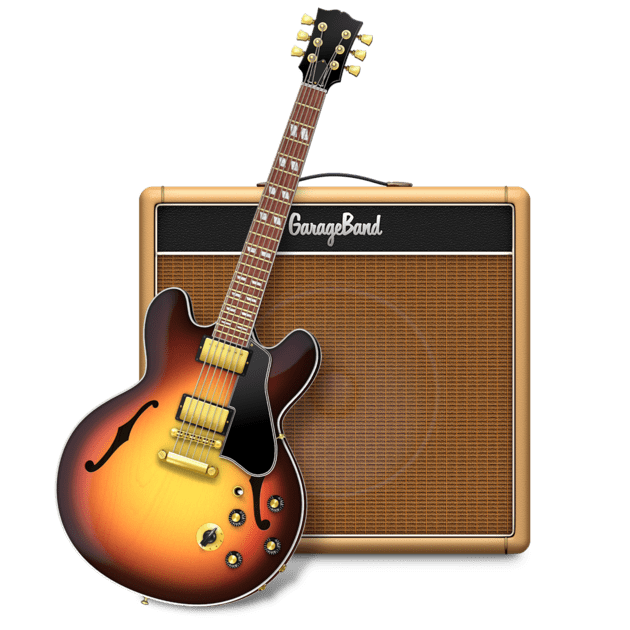 GarageBand Logo featuring guitar in front of an amplifier