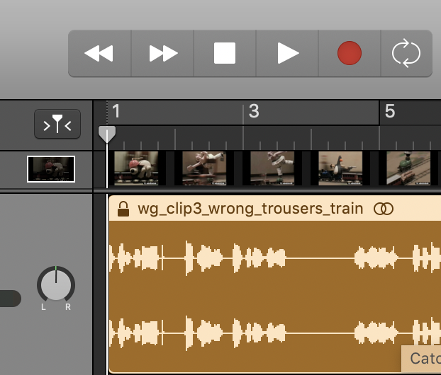 GarageBand - a little thumbnail of a video shows users where to click to open the full video