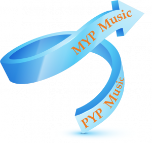 An upwards facing curved arrow depicting PYP moving to MYP Music