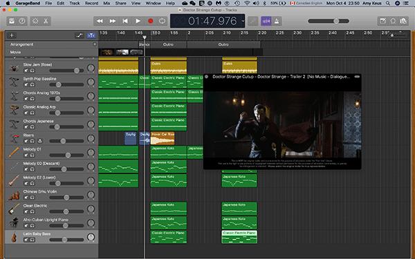 GarageBand screenshot showing Doctor Strange trailer and many different, filled musical tracks.