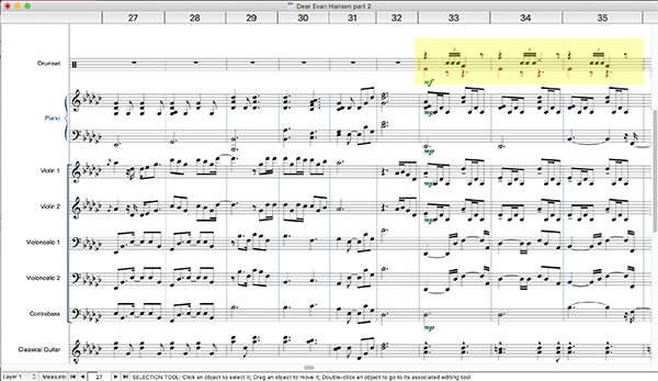 Finale screen shot showing multiple staves of piano, strings, and drum kit. The drum part is highlighted in yellow.