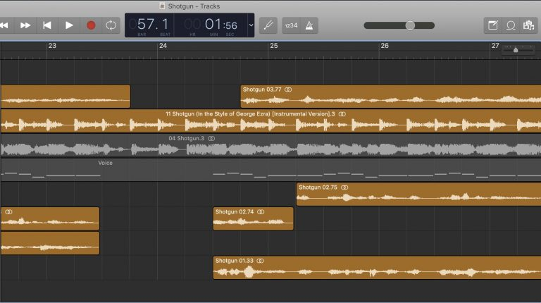 GarageBand screen shot showing tracks with different music loops