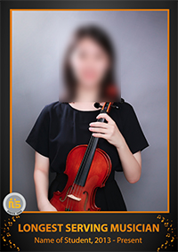 a girl holding a violin as part of a longest serving musician award