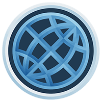 ManageBac Logo, a dark navy circle with a light blue lattice throughout the center