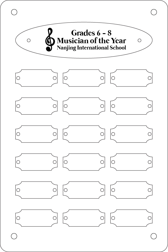 Empty plaque template for musician of the year grades 6 - 8