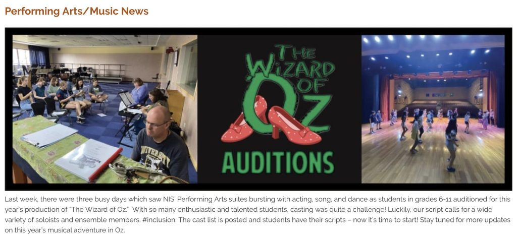 Wizard of Oz Audition article featuring two pictures of auditioning children and the Wizard of Oz logo