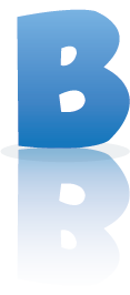 Letter B with blue gradient, a drop shadow, and a reflection.